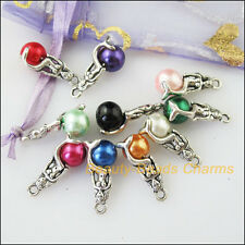 10Pcs Antiqued Silver Tone DIY/ Mermaid Beads Mixed Charms Pendants