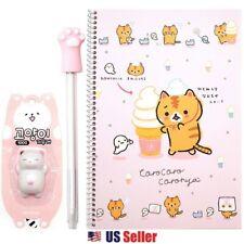 Corocoro Coronya Ruled Kitty Cat Notebook, Paw Pen, Eraser : Set of 3 (Pink)