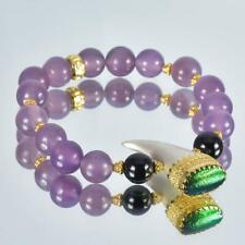 "Bracelet Black Spinel, Purple Chalcedony & 18K Gold Vermeil Sterling Bead 7"""