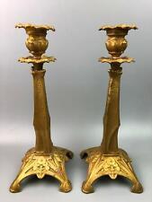 Pair of Antique Gold Gilt Bronze Art Nouveau Candlesticks