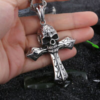 Biker Stainless Steel Large Skull Cross Pendant Gothic Men's Necklace Cool GIFT