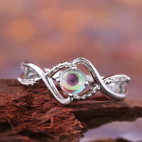 Fashion Wedding Rings for Women 925 Silver Jewelry Moonstone Ring Size 6-10