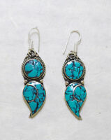 Ethnic sterling silver earrings Asian Turquoise jewelry Handmade Jewelry  E13