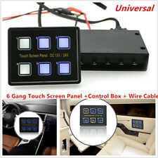 6 Gang LED Touch Screen Switch Panel Control Box + Wiring Kit For Car RV Yacht