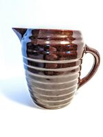 Vintage Brown Glaze Stoneware Pitcher Made In USA Ribbed Primitive Salt Beehive