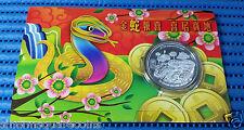 2013 Singapore Lunar Year of the Snake 20 gm 999 Fine Silver BU Medallion