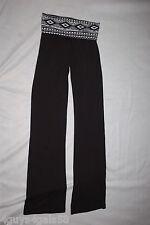 1e111abdfd3e3 Womens Juniors KNIT BLACK YOGA PANTS Fold Top WHITE TRIBAL Aztec Design M  7-9