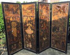 Victorian Edwardian Four Panel Decoupage Screen Room Divider -  needs TLC