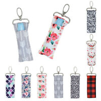 Portable Lipstick Holder Keychain Lip Balm Pouch Key Ring Bags Storage Bag 13UK