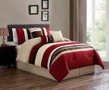7 Pcs Oversized Luxury Embroidery Microfiber Comforter Set Burgundy, King Size