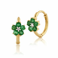 Gemondo 9ct Yellow Gold 0.60ct Floral Emerald & Diamond Hoop Earrings