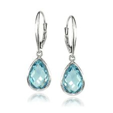 925 Silver Blue Topaz 12x8mm Bezel-Set Pear Teardrop Dangle Leverback Earrings