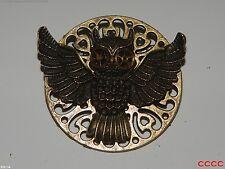 steampunk badge brooch flying owl brass cogs gears Harry Potter LARP abzeichen