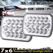 "2x 7""X6"" LED Headlight HID Cree Light Bulbs Crystal Clear Sealed Beam Headlamp"