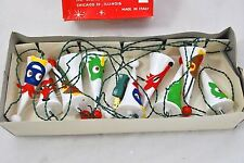 VINTAGE SILVESTRI CHRISTMAS LIGHTS - Cone Shaped Felt Animal Faces Made in Italy