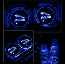 2pcs Colorful Led Car Cup Holder Bottom Pad Mat Auto Atmosphere Fit For JAGUAR