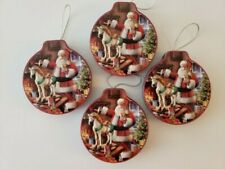 Holiday Home Gift Card Holder Tin Round Christmas Vintage Santa Set of 4 New