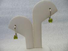 #265# CZ Peridot Round Gem Stone .925 Sterling Silver Dangle Leverback Earrings