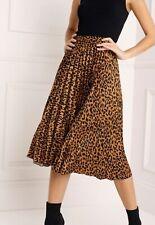 Lipsy Leopard Pleated Midi Skirt Uk Size 8
