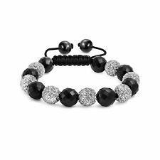 Black White Pave Crystal Shamballa Inspired Bracelet Ball Black Cord String