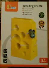 VIGA Wooden Threading Mouse Cheese Block Toy Educational Fun Lacing Learning SEN