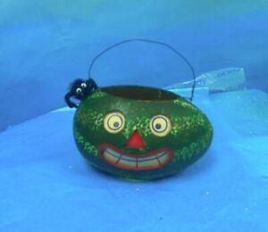 Jamieson Studios VTG  folk art paper mache watermelon JOL bucket handpainted!
