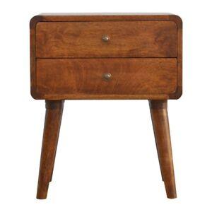 Wooden Bedside Table Chestnut Mid Century Loft Style Cabinet Modern Nightstand