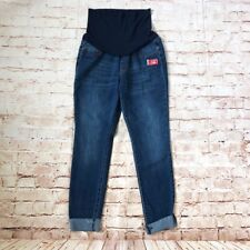 New Song Maternity Raw Cuff Sz L Women's Jeans Pants Blue Cotton