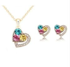 Pandora Love Silver Gold Plated Crystal Girl Necklace Pendant Earring Set Women