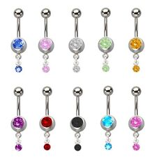 Belly Button Navel Ring 14g 2 Jeweled Surgical Steel Pack Of 10