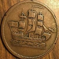 PEI SHIPS COLONIES AND COMMERCE HALF PENNY TOKEN COIN