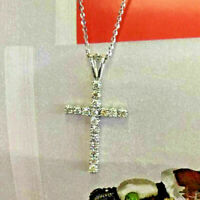 1.00 Carat Round Cut VVS1 Diamond Cross Pendant Necklaces 14K White Gold Finish