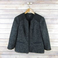 ANN TAYLOR Women's Trimmed Lined Wool Blend Jacket Sz 2 Black Tweed