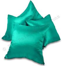 """Set of 4 Teal Blue / Turquoise Taffeta/Faux Silk 18"""" Cushion Covers"""