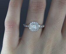 IKS 14K White Gold Double Halo Princess Round Diamond Engagement Ring Band