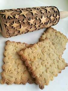 Stars Embossed Rolling Carved Engraved Textured Polling Pin Pastry by Oma Marta