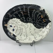 Cats By Nina Lyman Serving Platter Plate Black And White Large Tray Ceramic 2001
