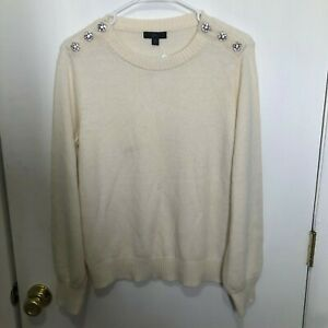 NWT J.Crew Crewneck Sweater With Jeweled Buttons Lambswool Blend Medium Ivory
