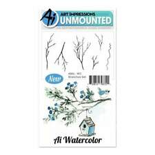 Art Impressions Watercolor Cling Rubber Stamps -Branches -WC4964