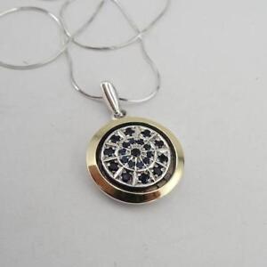 Hadar Designers Handmade 9k Yellow Gold 925 Silver Sapphire Zircon Pendant (MS
