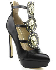NEW Black gold lion Medallion STRAPPY HIGH HEEL Stiletto PUMP women shoes Sz 6