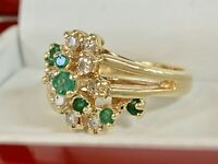 14K YELLOW GOLD .66CT NATURAL ROUND EMERALD DIAMOND COCKTAIL G/VS1 RING 6.75