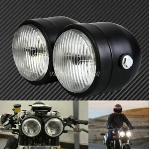 Black Twin Headlight Motorcycle Double Dual Lamp Street Fighter Universal Racer