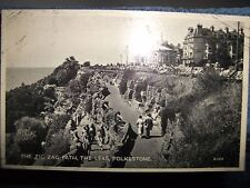 POSTCARD THE LEAS, FOLKSTONE KENT 1940's PUBLISHED VALENTINES