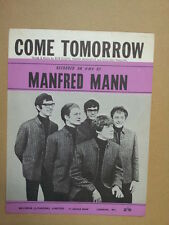 song sheet COME TOMORROW Manfred Mann 1961