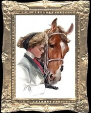 WOMAN With HORSE Dollhouse Picture - FRAMED Miniature Art - MADE IN AMERICA