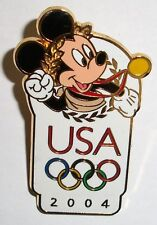 Disney USA Olympic 2004 Logo Mickey Mouse with a Laurel Wreath on His Head Pin