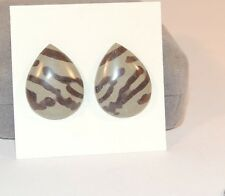 Print Stone Free Form pair of Cabochons From Mexico 17x22mm (7206)