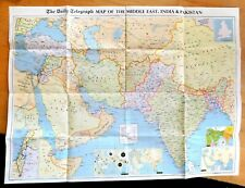 LARGE VINTAGE DAILY TELEGRAPH MAP OF MIDDLE EAST, INDIA AND PAKISTAN. LATE 1960s