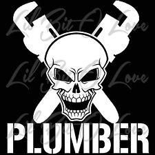 Plumber Skull and Cross Wrenches Vinyl Plumbing Skull Sticker Car Vehicle